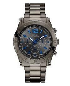 GUESS Men's Chronograph Gunmetal Stainless Steel Bracelet Watch 46mm