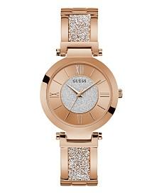 GUESS Women's Rose Gold-Tone Stainless Steel & Swarovski Crystal Bangle Bracelet Watch 36mm