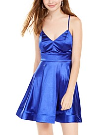 Juniors' Satin Cross-Back Dress