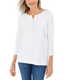 3/4-Sleeve Woven Bib Scoop Neck Top, Created for Macy's