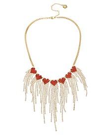 Stone Fringe Heart Bib Necklace