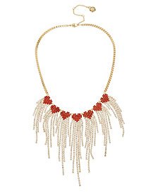 BCBGeneration Stone Fringe Heart Bib Necklace