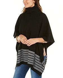 Textured Metallic Stripe Poncho