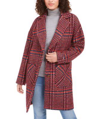 Drop Shoulder Plaid Reefer Coat