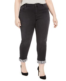 I.N.C. Plus Size Snake Skin Cuff Jeans, Created For Macy's