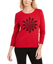Karen Scott Snowflake Appliqué Sweater, Created For Macy's