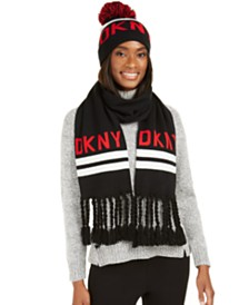 DKNY Logo Stadium Beanies & Scarves Collection