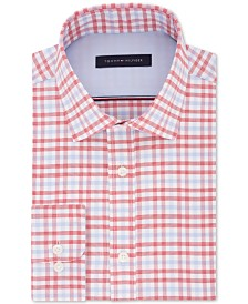 Tommy Hilfiger Men's Fitted Performance Stretch Blue Check Dress Shirt