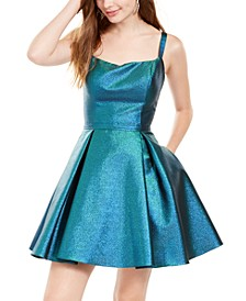 Juniors' Metallic Cage-Back Fit & Flare Dress