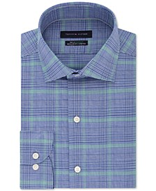 Men's Classic/Regular Fit Non-Iron THFlex Supima® Performance Stretch Blue Check Dress Shirt