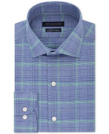 Tommy Hilfiger Men's Classic/Regular Fit Non-Iron THFlex Supima® Performance Stretch Blue Check Dress Shirt