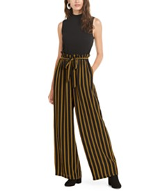 As U Wish Juniors' Solid & Striped Paperbag-Waist Jumpsuit