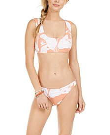 Juniors' Printed Bikini Top & Cheeky Bottoms