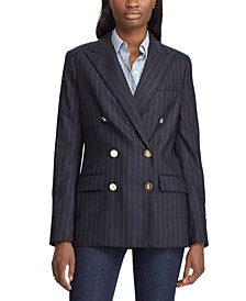 Pinstripe-Print Double-Breasted Blazer