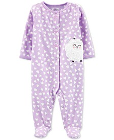 Baby Girls Sheep Snap-Up Fleece Footie