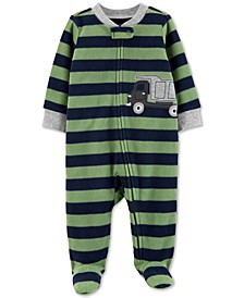 Baby Boys Dump Truck Zip-Up Fleece Footie
