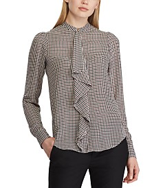 Lauren Ralph Lauren Check-Print Ruffle-Trim Georgette Top