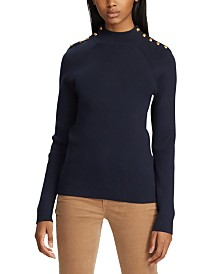 Lauren Ralph Lauren Mockneck Button-Trim Sweater