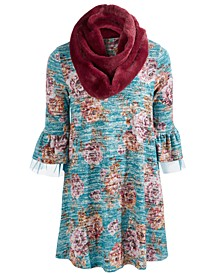 Big Girls 2-Pc. Printed Bell-Sleeve Dress & Faux-Fur Scarf Set