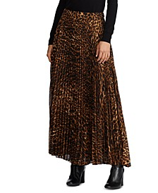 Animal-Print Pleated Georgette Skirt