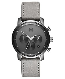 Chronograph 40 Monochrome Gray Leather Strap Watch 40mm
