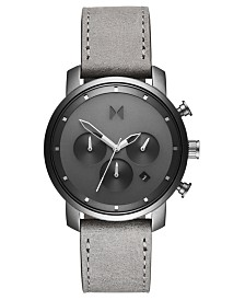 MVMT Chronograph 40 Monochrome Gray Leather Strap Watch 40mm