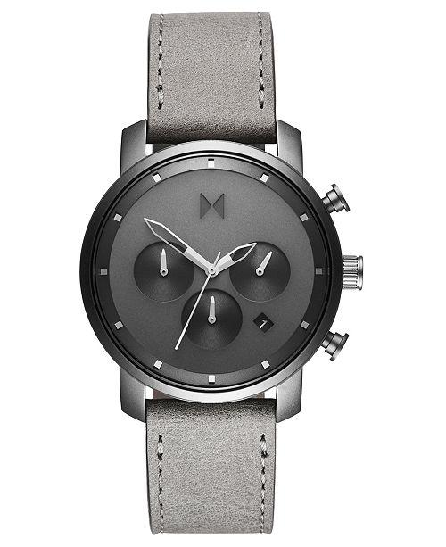 MVMT Chronograph 40 Monochrome Gray Leather Strap Watch 40mm
