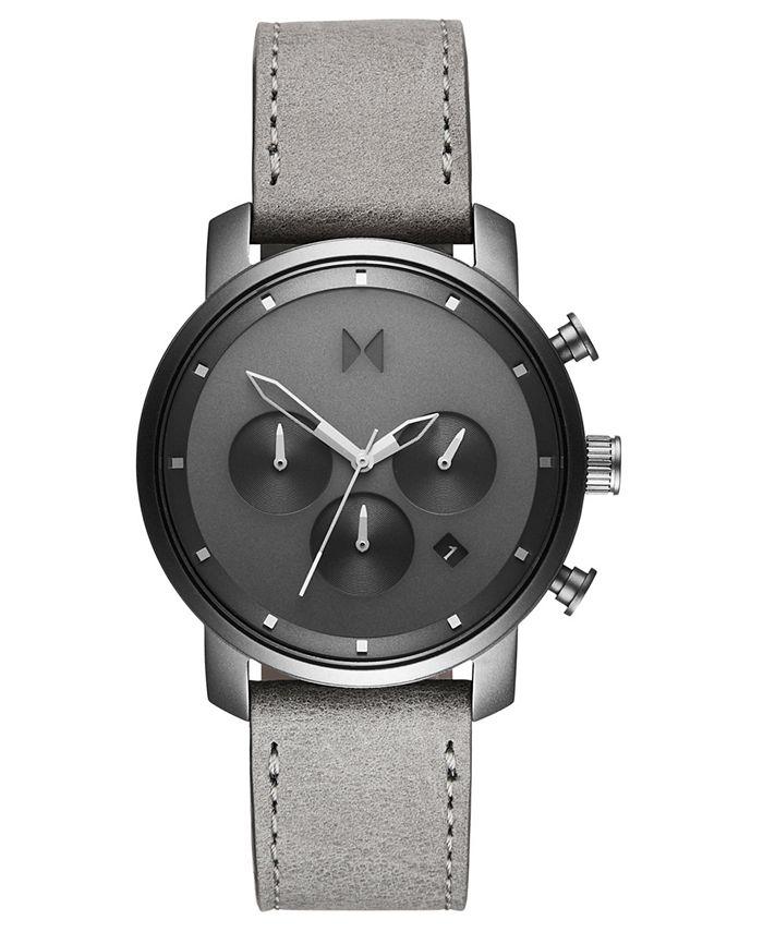 MVMT - Men's Chronograph 40 Monochrome Gray Leather Strap Watch 40mm