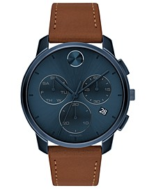 Men's Swiss Chronograph Brown Cognac Leather Strap Watch 42mm