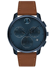 Movado Men's Swiss Chronograph Brown Cognac Leather Strap Watch 42mm
