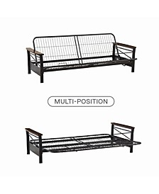 Natalie Metal Futon Frame with Wood Armrests