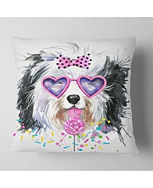 "Designart Lovely Dog With Pink Heart Glasses Contemporary Animal Throw Pillow - 16"" X 16"""