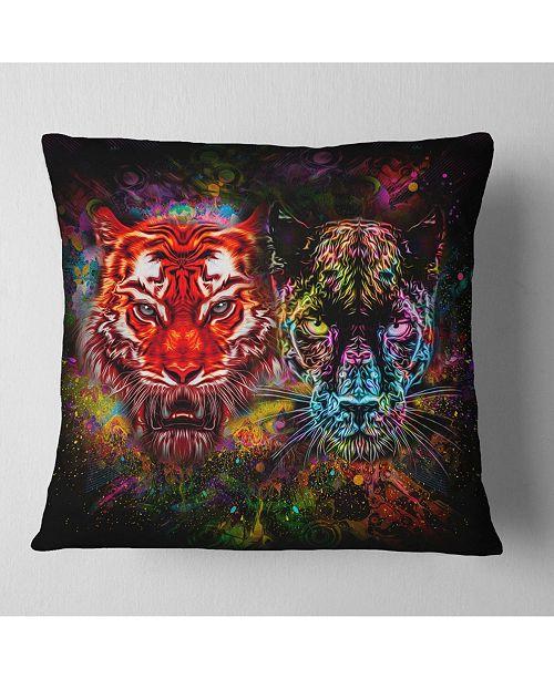 "Design Art Designart Tiger And Panther With Splashes Animal Throw Pillow - 16"" X 16"""