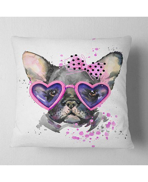 "Design Art Designart Cute Dog With Pink Glasses Animal Throw Pillow - 18"" X 18"""