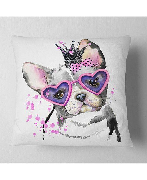 "Design Art Designart Sweet Funny Dog With Glasses Animal Throw Pillow - 18"" X 18"""