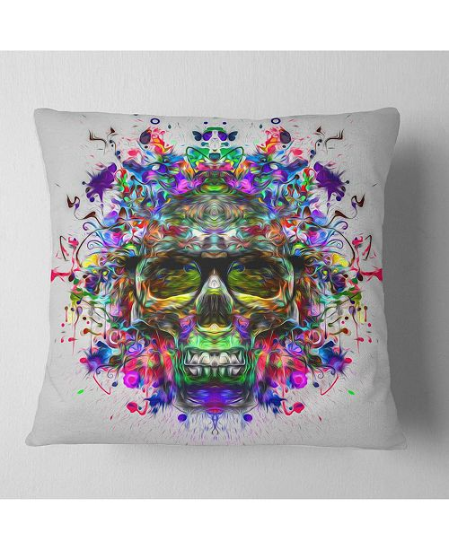 """Design Art Designart Skull With Glasses And Paint Splashes Abstract Throw Pillow - 18"""" X 18"""""""