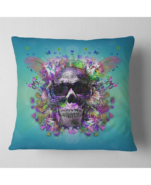 """Design Art Designart Skull With Glasses And Butterflies Abstract Throw Pillow - 16"""" X 16"""""""