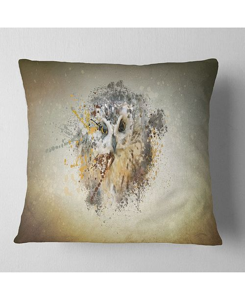 "Design Art Designart Large Gracing Owl Animal Throw Pillow - 18"" X 18"""