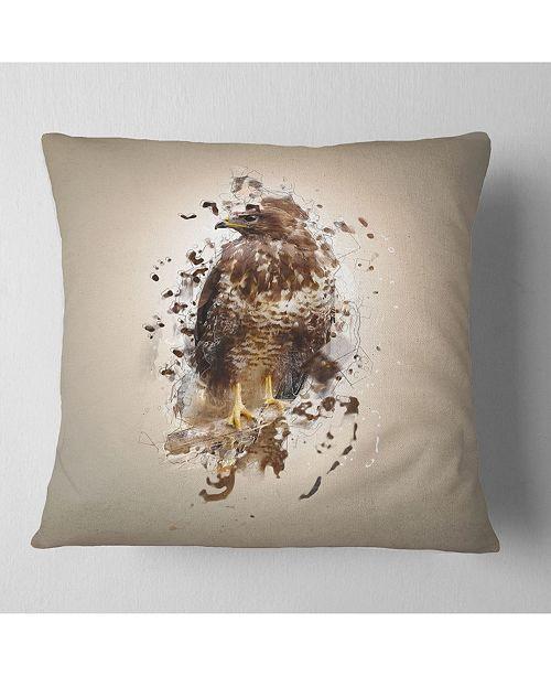 """Design Art Designart Abstract Falcon On Branch Animal Throw Pillow - 16"""" X 16"""""""