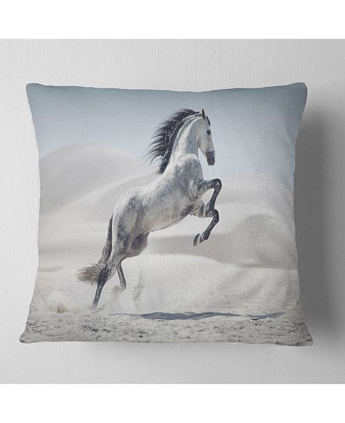 "Design Art Designart Galloping White Horse Animal Throw Pillow - 16"" X 16"""
