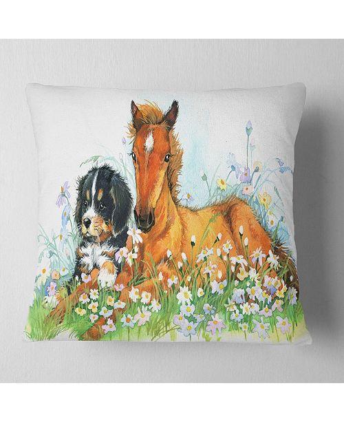 """Design Art Designart Relaxing Brown Cute Horse Animal Throw Pillow - 16"""" X 16"""""""