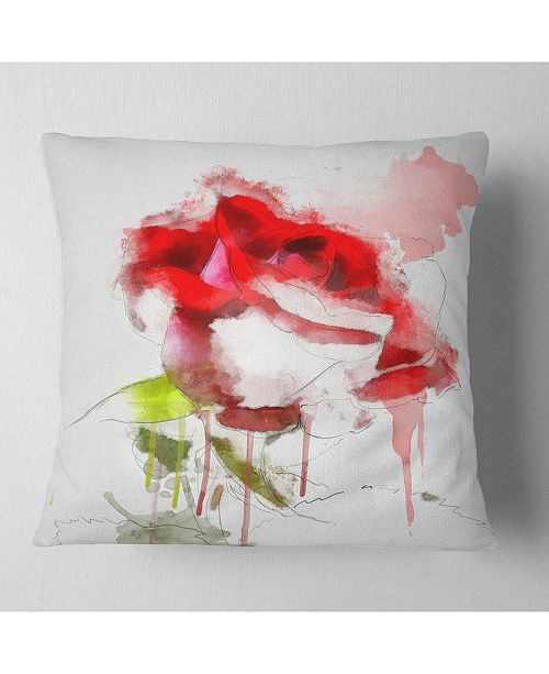 "Design Art Designart Red Rose Sketch With Red Splashes Floral Throw Pillow - 18"" X 18"""