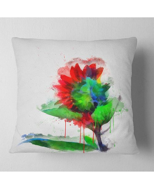 "Design Art Designart Colorful Flower Stem With Splashes Floral Throw Pillow - 16"" X 16"""