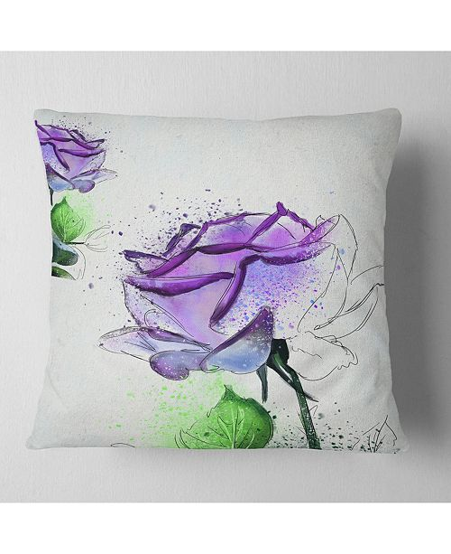 "Design Art Designart Blue Rose Flowers With Green Leaves Floral Throw Pillow - 16"" X 16"""