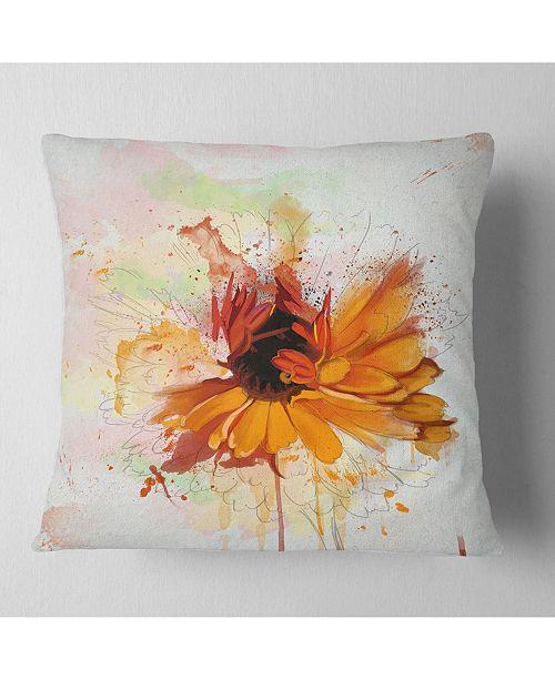 "Design Art Designart Sunflower Drawing With Paint Splashes Floral Throw Pillow - 16"" X 16"""