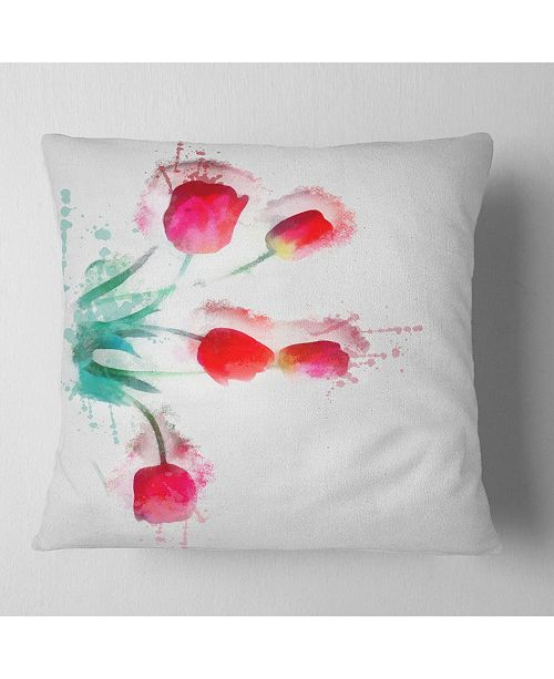 "Design Art Designart Bunch Of Red Tulips Watercolor Floral Throw Pillow - 18"" X 18"""