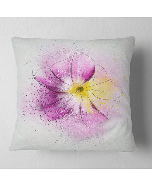 "Design Art Designart Purple Flower Sketch With Splashes Floral Throw Pillow - 16"" X 16"""