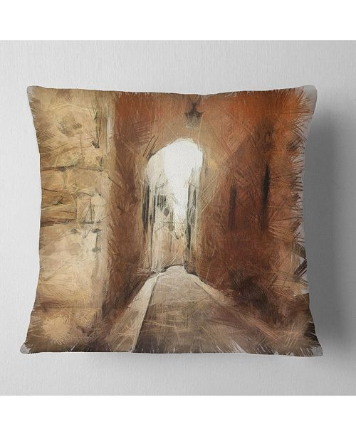 Design Art Designart Brown Old City Street Drawing Landscape Printed Throw Pillow 18 X 18 Reviews Decorative Throw Pillows Bed Bath Macy S