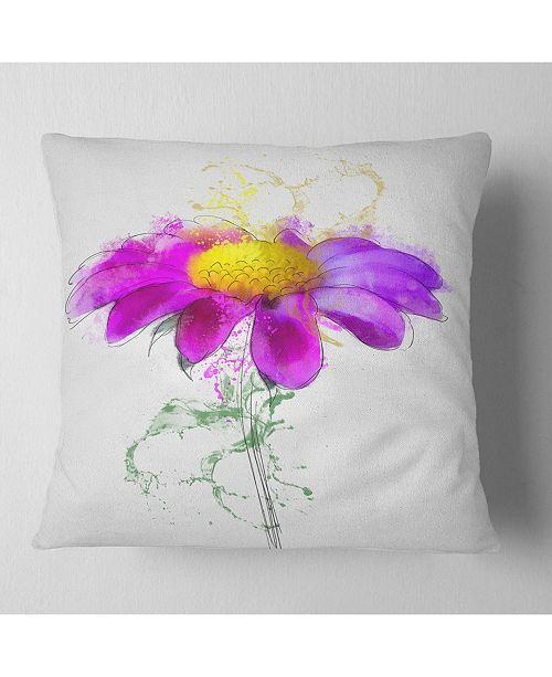 """Design Art Designart Purple Daisy Flower With Stem Flowers Throw Pillowwork - 18"""" X 18"""""""