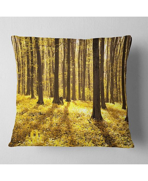 """Design Art Designart Bright Green Forest At Sunset Modern Forest Throw Pillow - 18"""" X 18"""""""